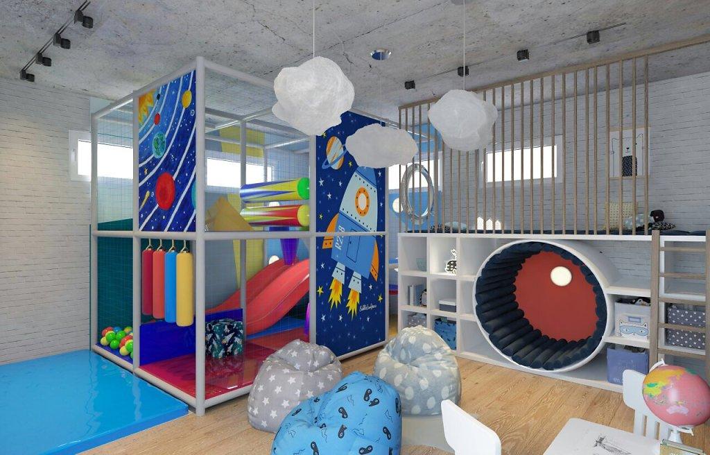 детская игровая комната на цокольном этаже