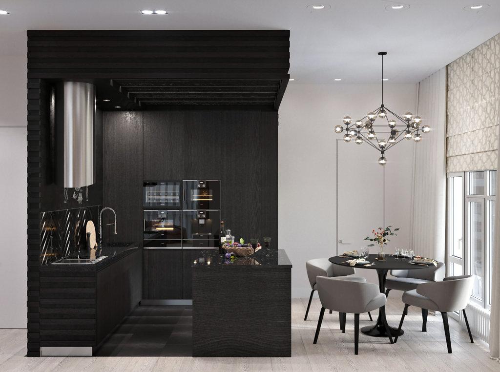 кухня-черный куб